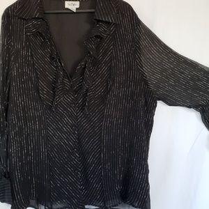 Bob Mackie Studio sheer sparkle blouse 3x black